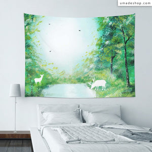 ★Wall Tapestry★ White Deer Forest - Spot Spray