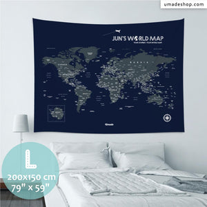 UMade, UMap world map (wall hanging) Large size & color demo on the wall in a room . Detailed size information and guide for reference.