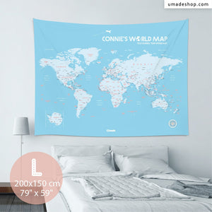 UMade, UMap BABY BLUE world map (wall hanging) Large size & color demo on the wall in a room . Detailed size information and guide for reference.
