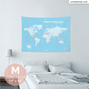 UMade, UMap BABY BLUE world map Medium size & color demo on the wall in a room . Detailed size information and guide for reference.