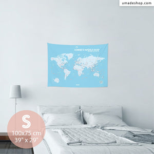 UMade, UMap BABY BLUE world map Small size & color demo on the wall in a room. Detailed size information and guide for reference.