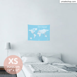 UMade, UMap BABY BLUE world map Extra Small size & color demo on the wall in a room. Detailed size information and guide for reference.