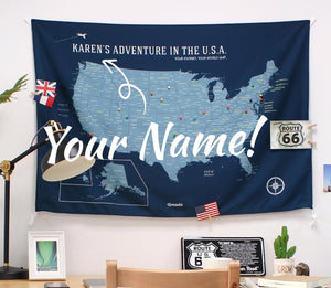 UMade, UMap, Personalised Large USA Map, map of the USA, custom quote U.S. map, Personalised map, Push pin USA map, Travel Map ideas, gift for kids, America map, bedroom decor, wall decoration for kids, blue, dark blue, captain blue, your name map, gifts men, gift women, gift for couple