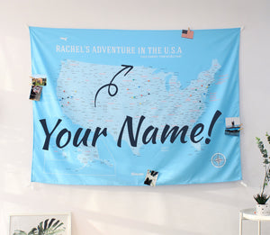 UMade, UMap, your personalized USA map, United States Map, blue, light blue, USA travel map, Wall Art, USA Map for Kids, room decor map, custom travel map, custom map, travel gift, gift idea, room decor, dorm decor, tapestry map, scratch off map, pushpin map, 50 states