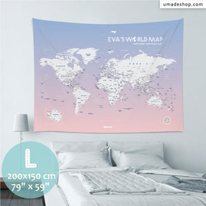 UMade, UMap PINK world map Large size & color demo on the wall in a room. Detailed size information and guide for reference.