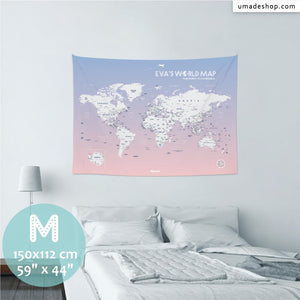 UMade, UMap PINK world map Medium size & color demo on the wall in a room. Detailed size information and guide for reference.