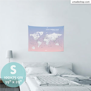 UMade, UMap PINK world map Small size & color demo on the wall in a room. Detailed size information and guide for reference.