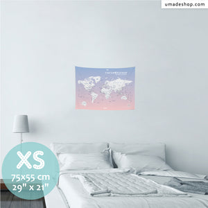 UMade, UMap PINK world map Extra Small size & color demo on the wall in a room. Detailed size information and guide for reference.