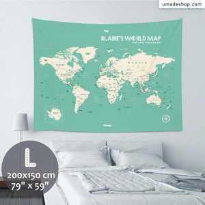 UMade, UMap world map (wall hanging) Large size & color demo on the wall in a room. Detailed size information and guide for reference.
