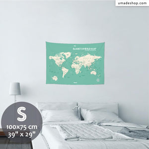 UMade, UMap world map (wall hanging) Small size & color demo on the wall in a room. Detailed size information and guide for reference.