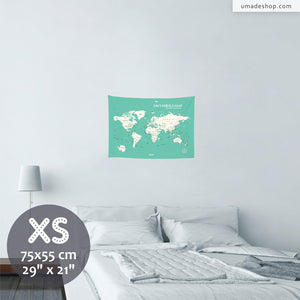 UMade, UMap world map (wall hanging) Extra Small size & color demo on the wall in a room. Detailed size information and guide for reference.