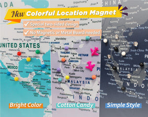Beautiful and colorful magnet location pins for your Map.