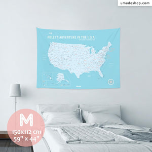 UMap。U.S.A. Map - Baby blue