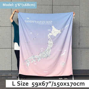 UMade, UMap Japan Map (wall hanging) Large size demo with real person for scale reference. Detailed size information and guide.