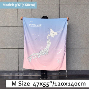 UMade, UMap Japan Map (wall hanging) Medium size demo with real person for scale reference. Detailed size information and guide.