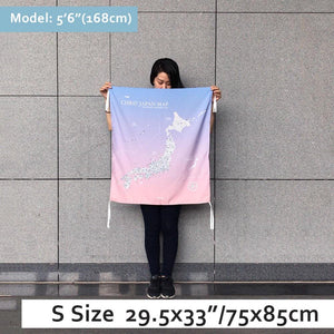UMade, UMap Japan Map (wall hanging) Small size demo with real person for scale reference. Detailed size information and guide.