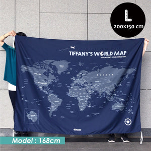 UMade, UMap world map (wall hanging) Large size demo with real person for scale reference. Detailed size information and guide.