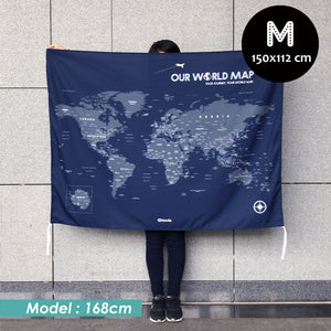 UMade, UMap world map (wall hanging) Medium size demo with real person for scale reference. Detailed size information and guide.