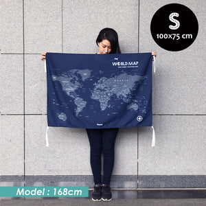UMade, UMap world map (wall hanging) Small size demo with real person for scale reference. Detailed size information and guide.