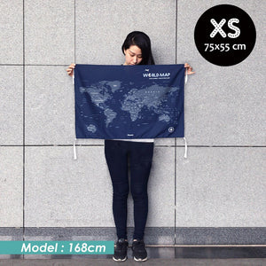 UMade, UMap world map (wall hanging) Extra Small size demo with real person for scale reference. Detailed size information and guide.