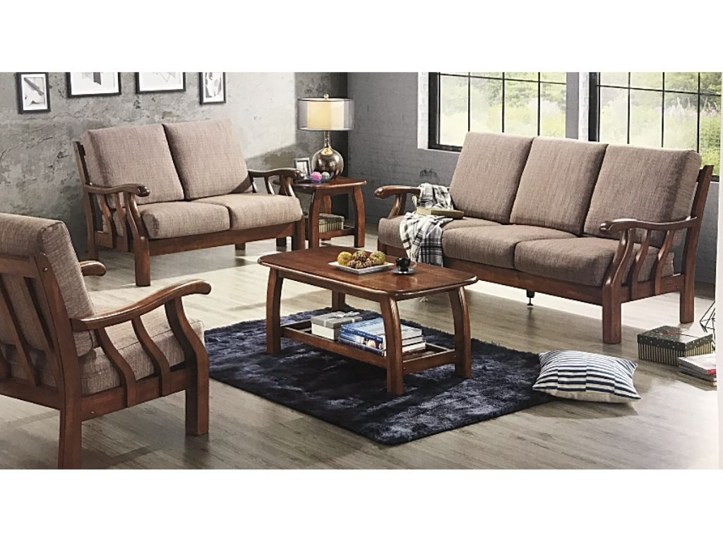 Wooden Sofa Set With Fabric Covers Da313
