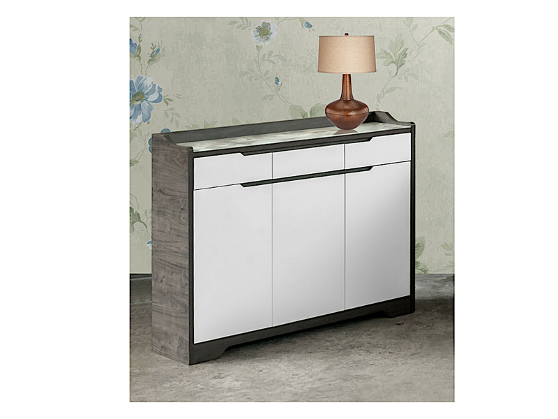 Eli 3 Door Shoe Cabinet with Tempered Glass Top (DA3348)