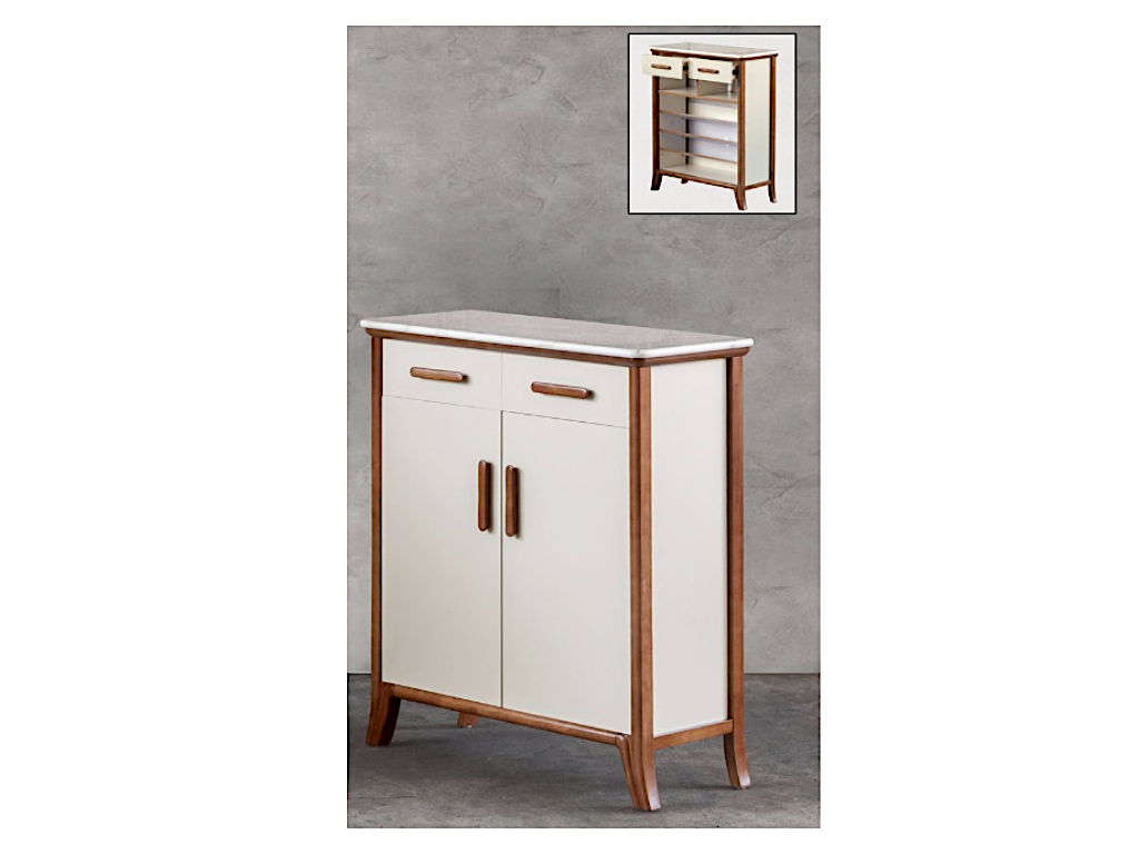 Katrina Marble Top 2 Door Shoe Cabinet (DA3334)
