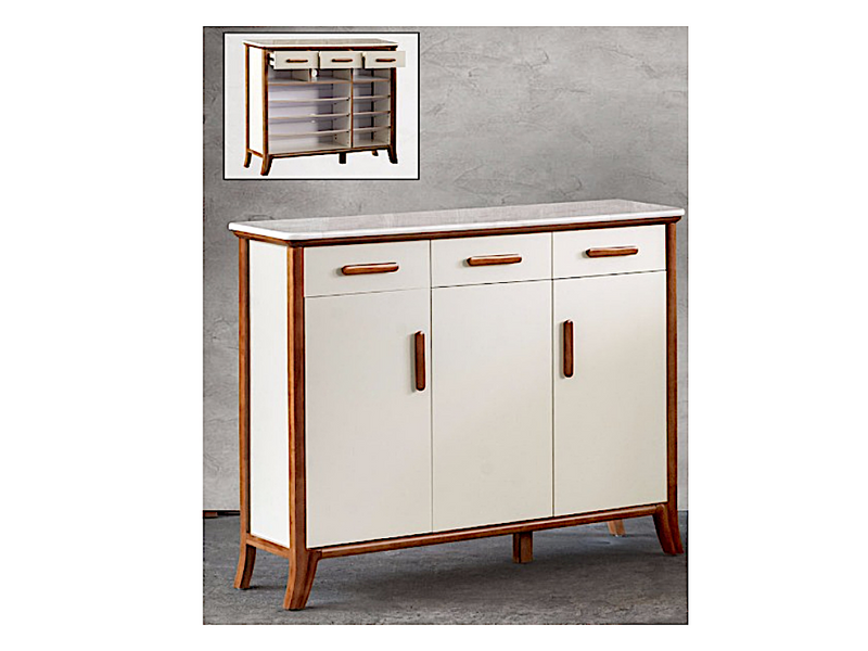 Katrina Marble Top 3 Door Shoe Cabinet (DA3335)
