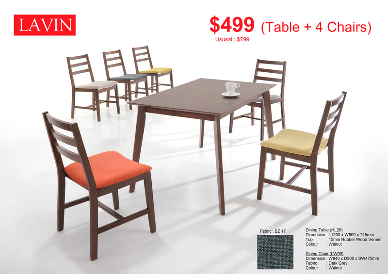 Lavin 4 Seater Dining Set (Hot Selling!)