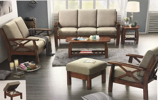 Wooden Sofa Set with Fabric Covers (DA312)