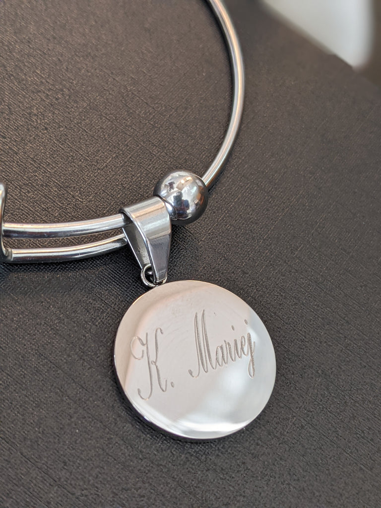 Name bangle bracelet *Free Engraving *