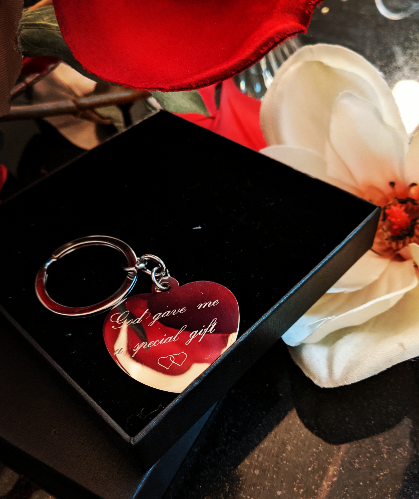 My Heart Keychain * Free Engraving*