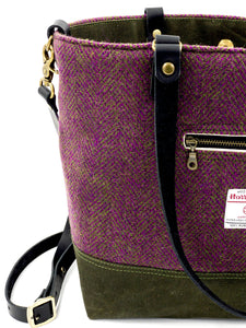 Olive and Pink Herringbone Commuter Tote