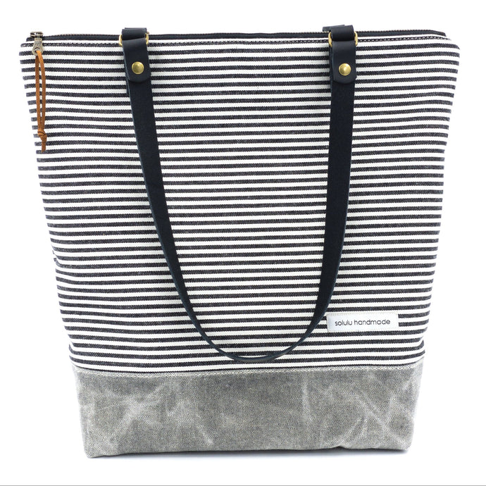 Signature Stripes Zipper Top Tote