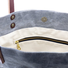 Load image into Gallery viewer, Waxed Denim Tote - Railroad Stripe