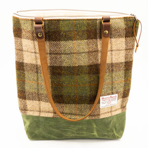 Harris Tweed Zipper Top Tote
