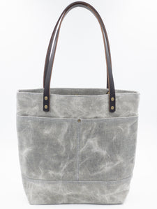 Waxed Denim Tote - Black and White