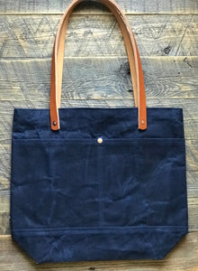 Waxed Canvas Tote - Navy