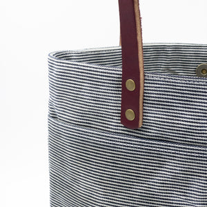 Waxed Denim Tote - Railroad Stripe