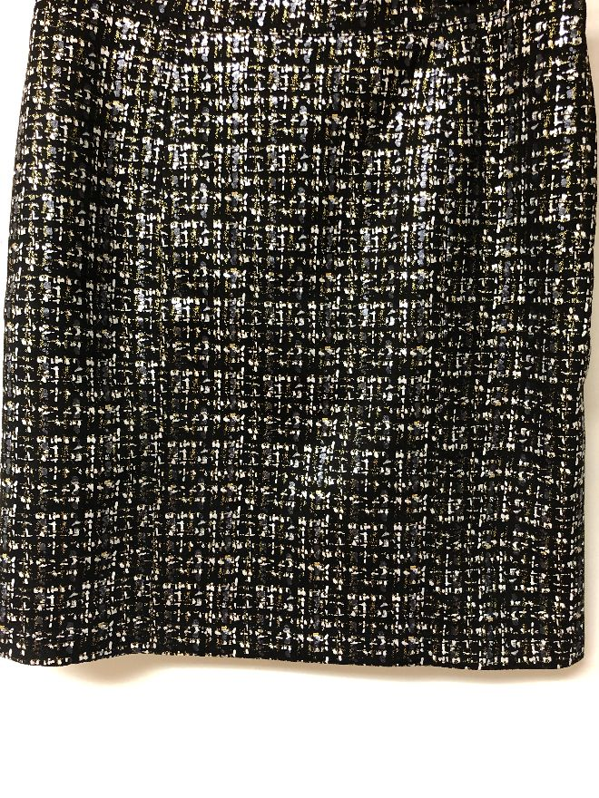 REBECCA GLITTER PRINT SKIRT METALLIC GOLD/BLACK