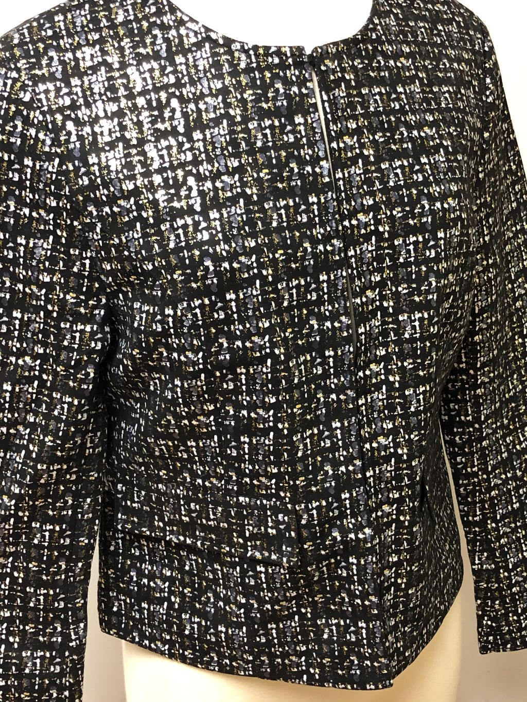 REBECCA GLITTER PRINT BLAZER METALLIC GOLD/BLACK