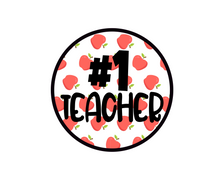 Load image into Gallery viewer, #1 Teacher Apples Package Tags - Dots and Bows Designs