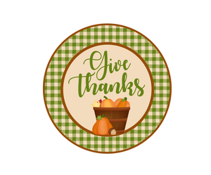Give Thanks Green Plaid Package Tag - Dots and Bows Designs