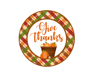 Give Thanks Pumpkins Package Tag - Dots and Bows Designs