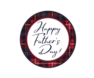 Happy Father's Day Plaid Script Package Tags - Dots and Bows Designs