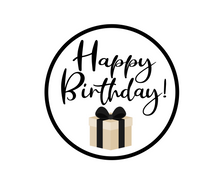 Load image into Gallery viewer, Happy Birthday Black Package Tags - Stephany - Dots and Bows Designs