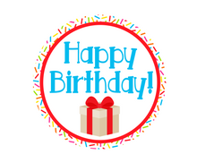 Load image into Gallery viewer, Happy Birthday Red Sprinkles Package Tags - Dots and Bows Designs