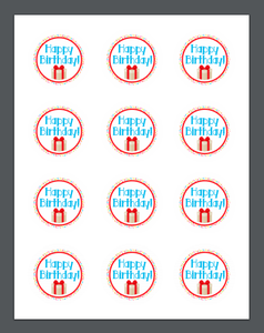 Happy Birthday Red Sprinkles Package Tags - Dots and Bows Designs