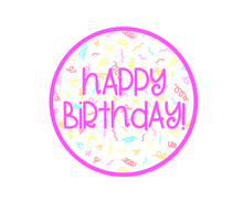 Load image into Gallery viewer, Happy Birthday Bright Pink Package Tags - Cali - Dots and Bows Designs