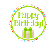 Load image into Gallery viewer, Happy Birthday Green Sprinkles Present Jawsome Package Tags - Dots and Bows Designs